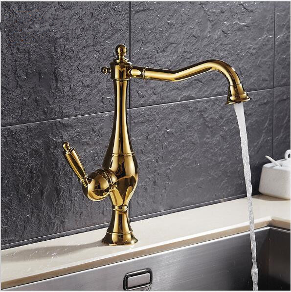 Basin Faucets Modern Gold Color Deck Mounted Bathroom Mixer Faucets  High Swivel Bathroom Sink Faucet Basin Faucets Modern Gold Color Deck Mounted Bathroom Mixer Faucets  High Swivel Bathroom Sink Faucet