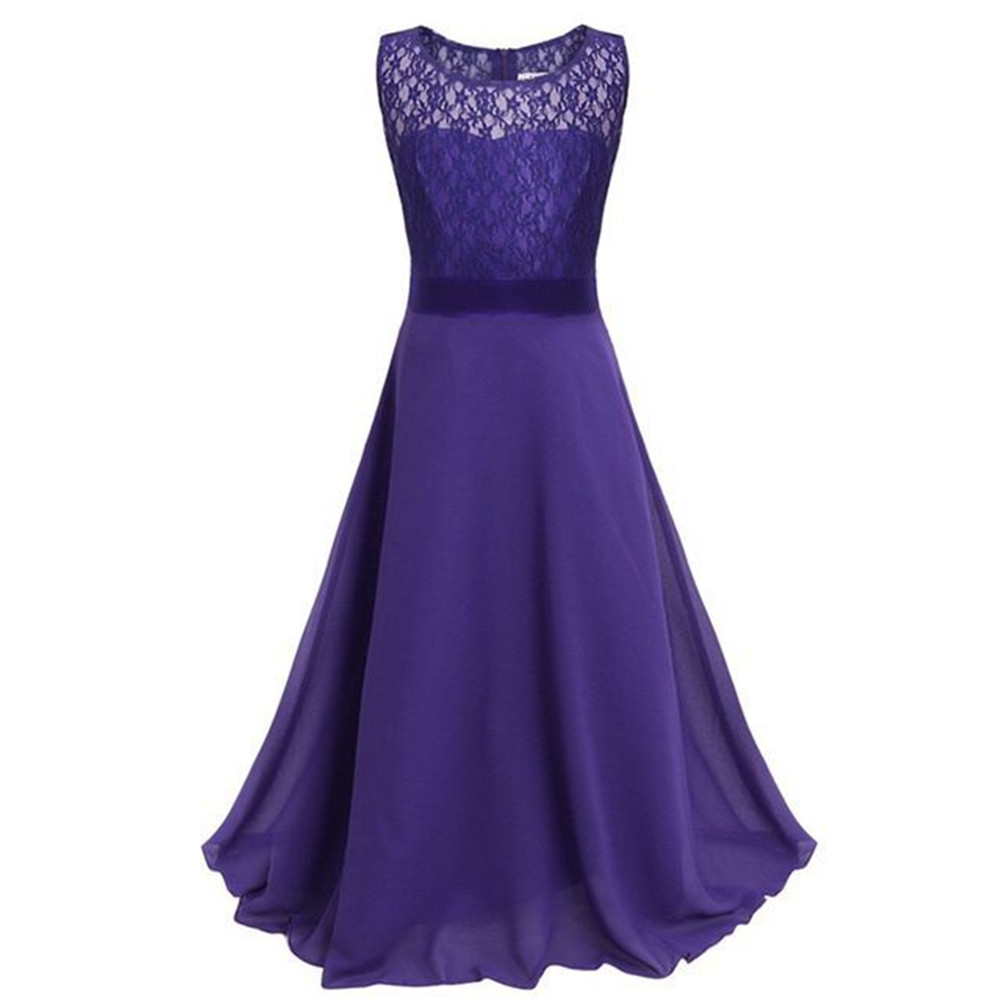 Star Flower Kids Lace Chiffon Maxi Dresses Long Prom Party Homecoming Gowns For Big Girls Size 14-16