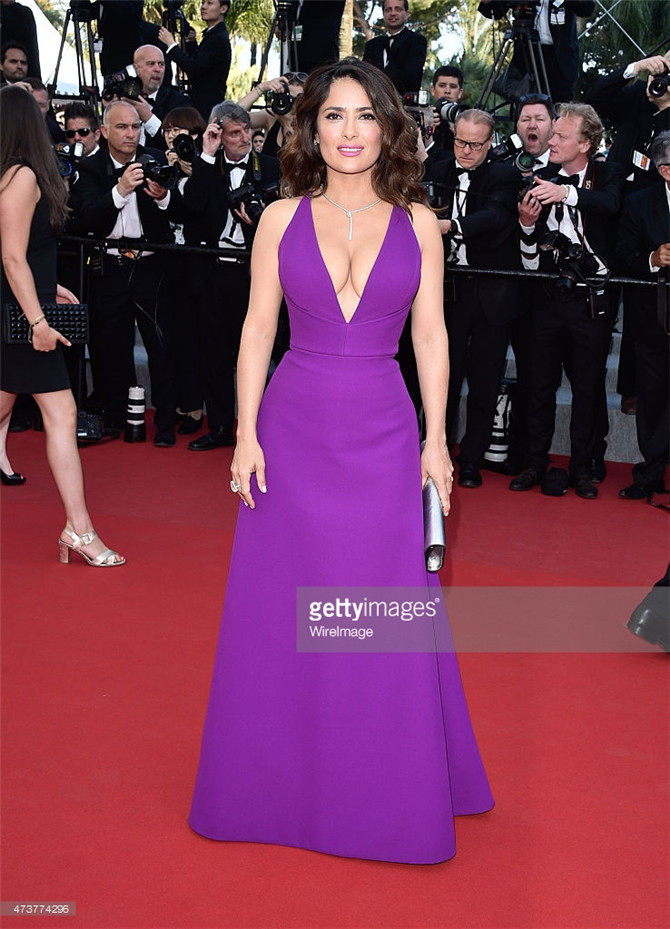 2015 Cannes Red Carpet Celebrity Dresses Salma Hayek Imitation Long Grape  Ruched Trumpet Sexy V Neck Famous Party Prom Gowns-in Celebrity-Inspired  Dresses ... abddc1de1922