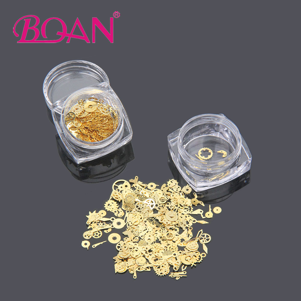 BQAN 1 Box Ultra-Thin 3D Nail Decoration Metal Gold Time Wheel Steam Punk Style Manicure Nail Art Decoration Accoressies 1 box gold matte nail art rhinestone studs wheel 3d metal square triangle shaped nail decoration accessories