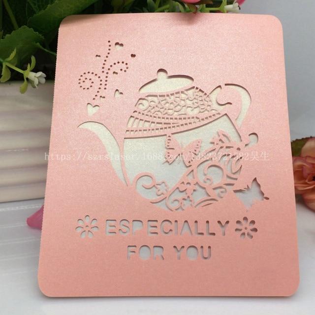 50 Pcs Laser Cut Teapot Pattern Birthday Greeting Cards Postcards