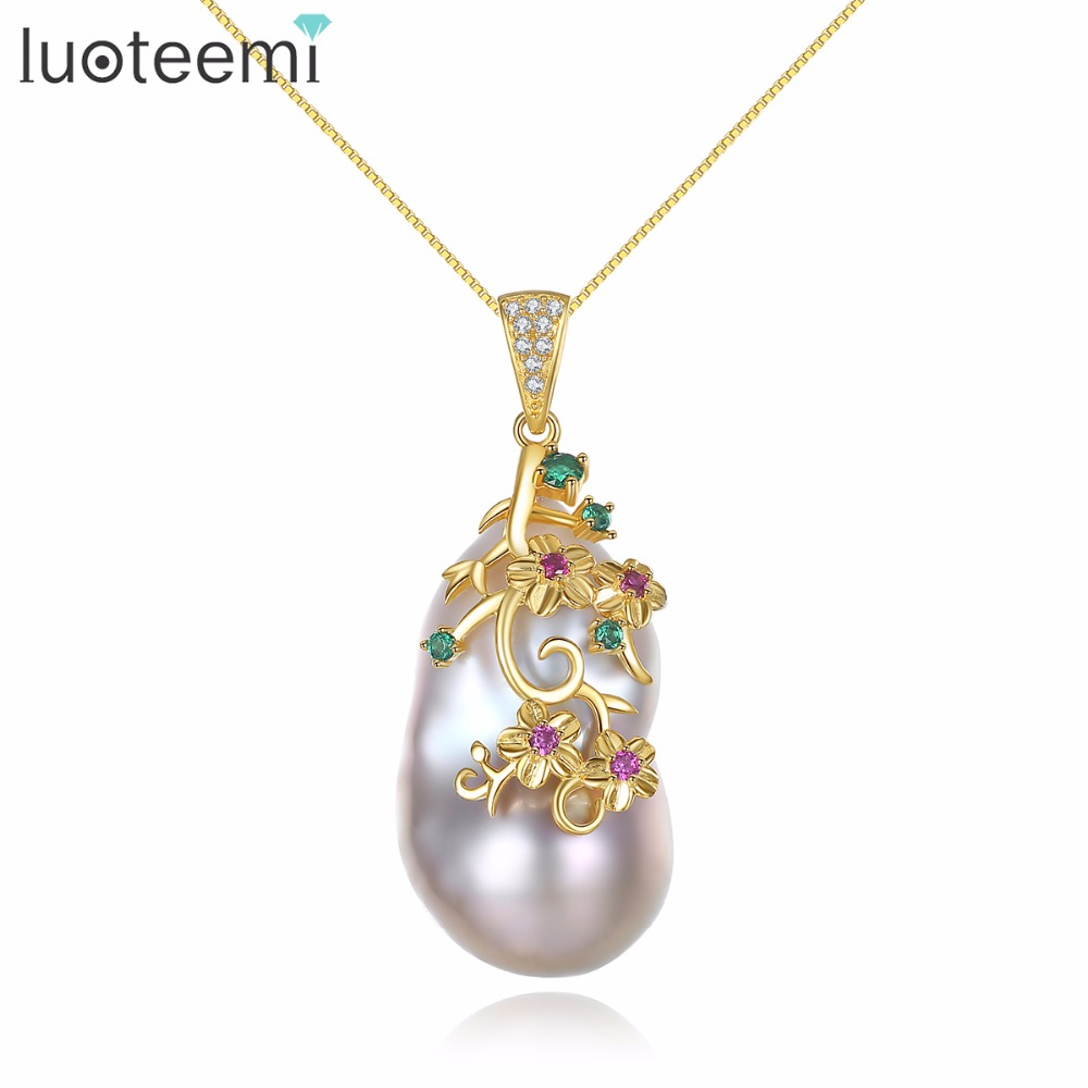 LUOTEEMI Cute Unique Sterling Silver Freshwater Natural Pearl Jewelry Long Pendant Necklace Women Chain Wholesale Drop Shipping