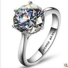 Роскошные кольца 4 карата с искусственным камнем для женщин, обручальные кольца из стерлингового серебра, обручальное кольцо с камнем sona
