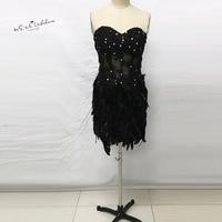 Skromny Czarny Feather Krótkie Koktajlu Suknia 2017 Lace Zroszony Importowane Party Sukienki dla Dziewczynek Vestido Plumas Custom Made Sexy Gala