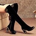 2017 новая мода более-колено толстые высокие каблуки женщины сапоги осень зима сексуальные сапоги женские длинные снег сапоги обувь