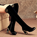 2017 new fashion over-the-knee thick high heels women high boots autumn winter sexy boots ladies long snow boots shoes