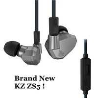 Original KZ ZS5 2DD 2BA Hybrid In Ear Earphone HIFI DJ Monito Sports KZ ZST KZ