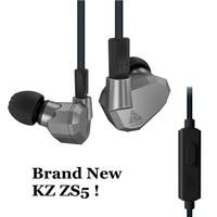 Original KZ ZS5 2DD 2BA Hybrid In Ear Earphone HIFI DJ Monito Sports KZ ZST KZ