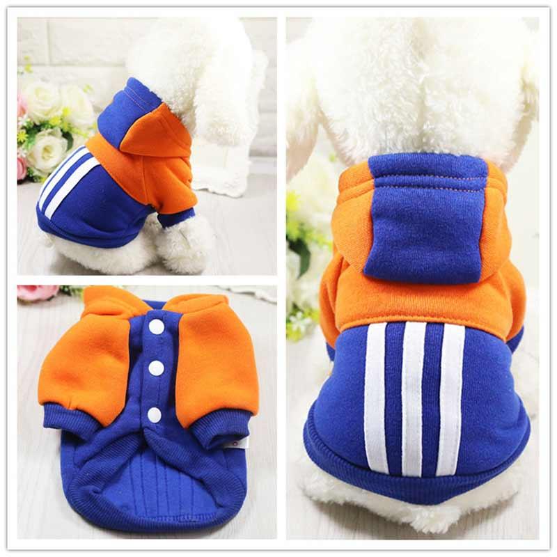 High Quality Winter Wram Cotton Dog Minimalism Design Striped Cartoon Cute Dog Coat Pure Pet Dog Cloth Jacket Cat Puppy Sweater