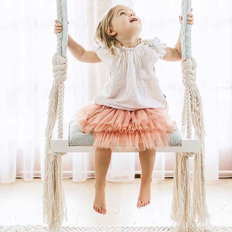 Kids Swing Chair Baby Entertainment Swing Children s Room Decoration Solid Wood Board Sponge Pad Cotton