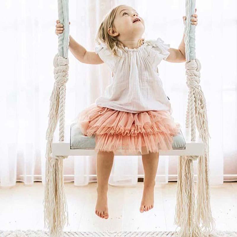 Niños columpio silla bebé entretenimiento columpio decoración de la habitación de los niños tabla de madera sólida esponja almohadilla de algodón cuerda columpio juguetes para niños-in Columpios de juguete from Juguetes y pasatiempos    1