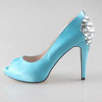 Handmade Light Turquoise Lake Blue Evening Shoes Bridal Princess Wedding Pumps Open Toe Crystal Lady Heels
