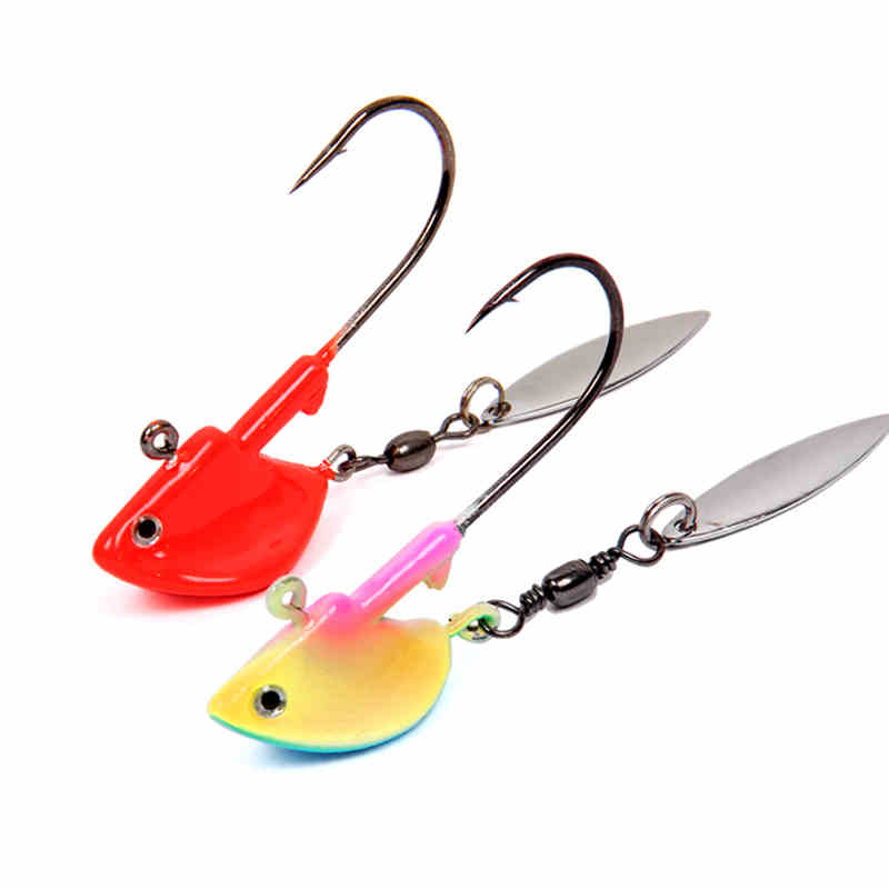Trulinoya Jig Head Hook in weight 7g 14g Jig with Spinners in Luminous Red Colors Swimming