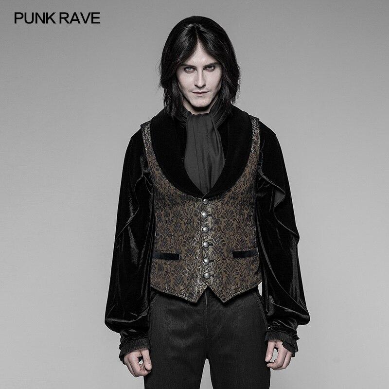 Punk Rock gothique Steampunk Palace or foncé Jacquard gilet haut veste victorien Vintage WY938