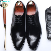 Vintage Men Shoes Formal Genuine Leather Business Casual Shoes Men Dress Office Luxury Shoes Male Breathable Oxfords