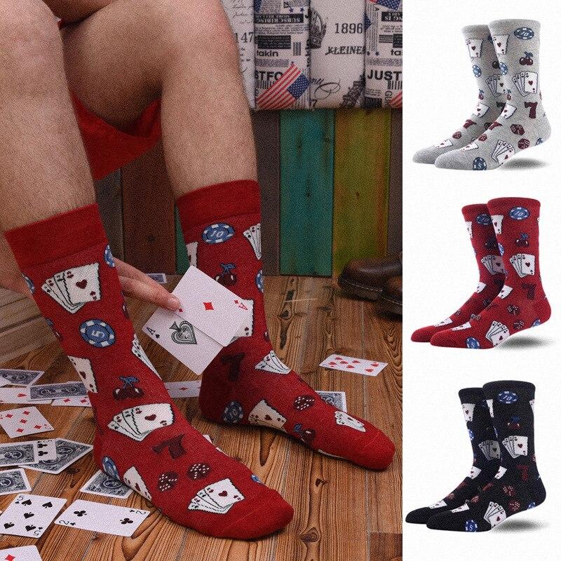 Socks Funny Cartoon Retro Tile Playing Cards Harajuku Happy Skateboarding Street Hip Hop Retro Casual Cotton Socks