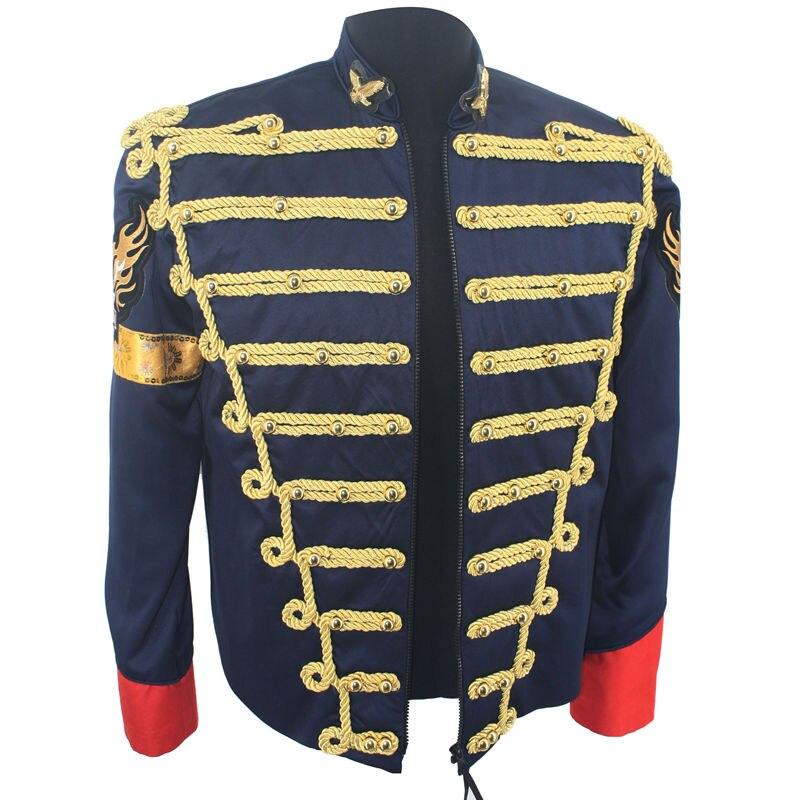 Редкая Мода ретро панк MJ Майкл Джексон Темно синяя Военная армейская королевская ретро Англия Стиль Мужская Threading куртка 1980с - 2
