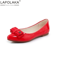 LAPOLAKA New Women S Patent Leather Flat Solid Shallow Bowtie Shoes Woman Casual Comfortable Sweet Flats