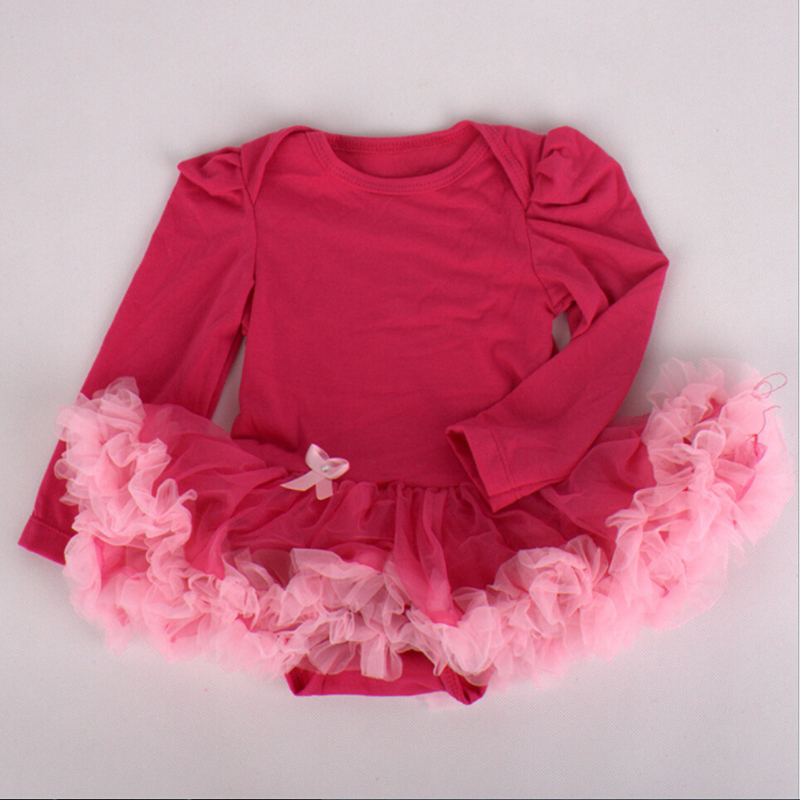 1PC Pink Tulle Lace Romper Bowtie Red Baby Girls Long Sleeves Tutu Dress for 0-12months Free Shipping