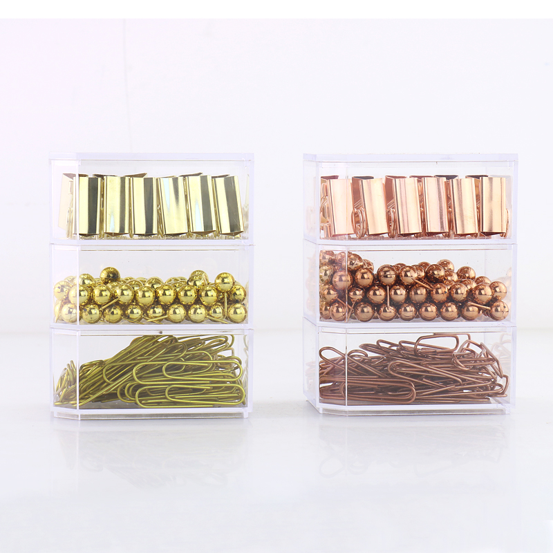TUTU Rose Gold Fashion Paperclip binder Clips push pin Photo Clip Paper Clips Decorative Gift Stationary Office Supplies H0162 never marble binder clips gold metal clips document paper clips with clip holder fashion office accessories school supplies
