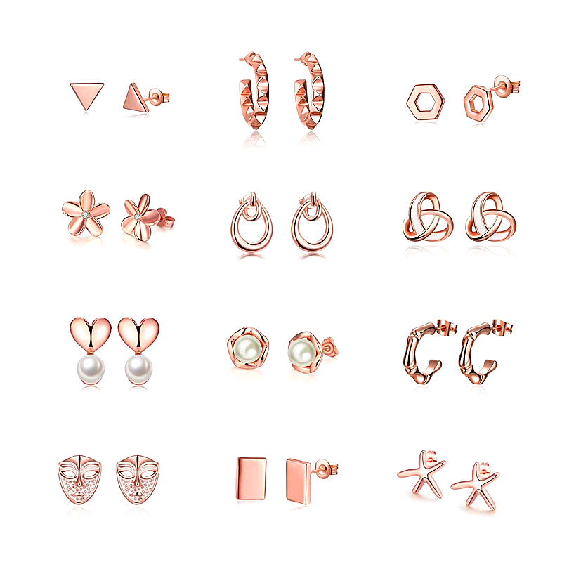 2018 New Stainless Steel Stud Earrings For Women Child Rose Gold Color Frosted Earrings Studs Best Jewelry Gift.
