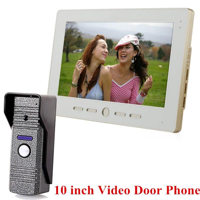 """10"""" Tft Wired Video Intercom Doorbell Rainproof Door Phone Camera Chime For Cctv Home Security"""