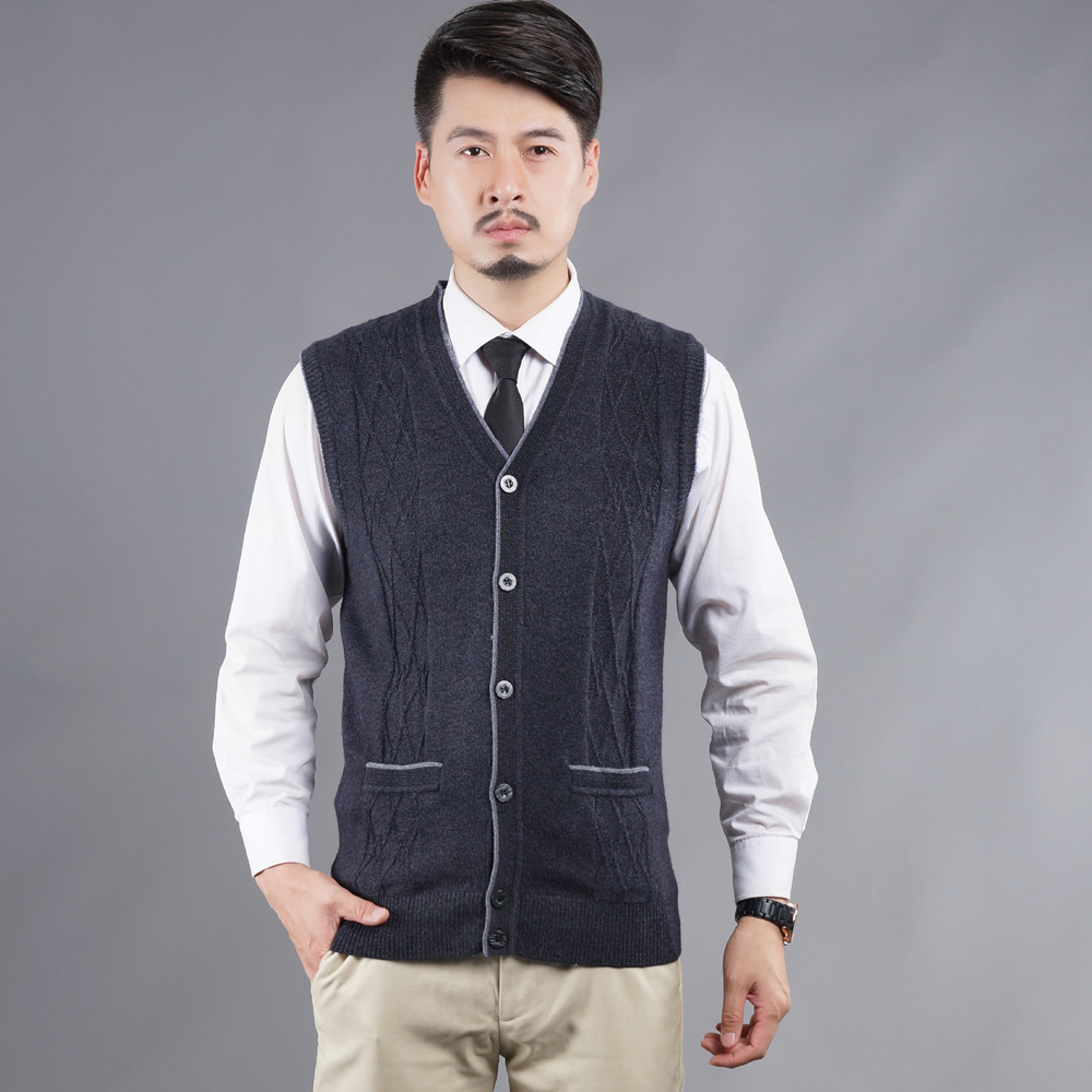 Hot Sale Autumn Mens Plaid Checked V Neck Wool Cardigan Sleeveless ...