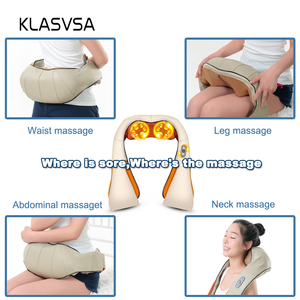 Image 4 - KLASVSA 12 Massage Heads Heating Neck Shoulder Kneading Massager Cervical Therapy Health Care Back Waist Pain Relief Relaxation