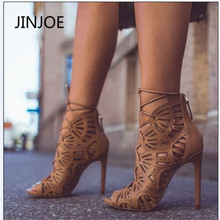 JINJOE Rome Buckle strap Shoes Women Sandals Sexy Gladiator Lace up Peep toe Sandals high heels Woman Ankle Boots