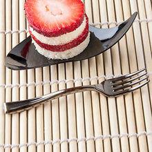 100pcs/Lot 10cm Plastic Dessert Silver Fork Disposable Shiny 3.9 Mini Partyware For Wedding Party Festival