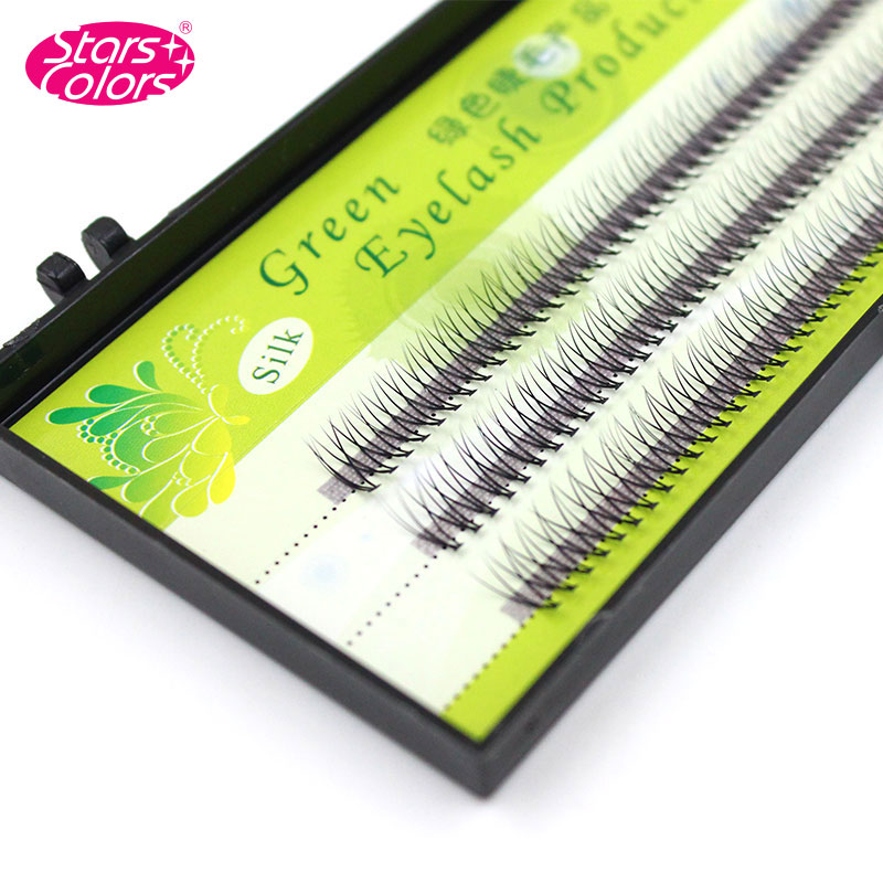 Stars Colors 0.15 C Curl 3D Individual False Eyelashes Silk Natural Soft and Thick Eyelash W Style Fake Lashes Extension