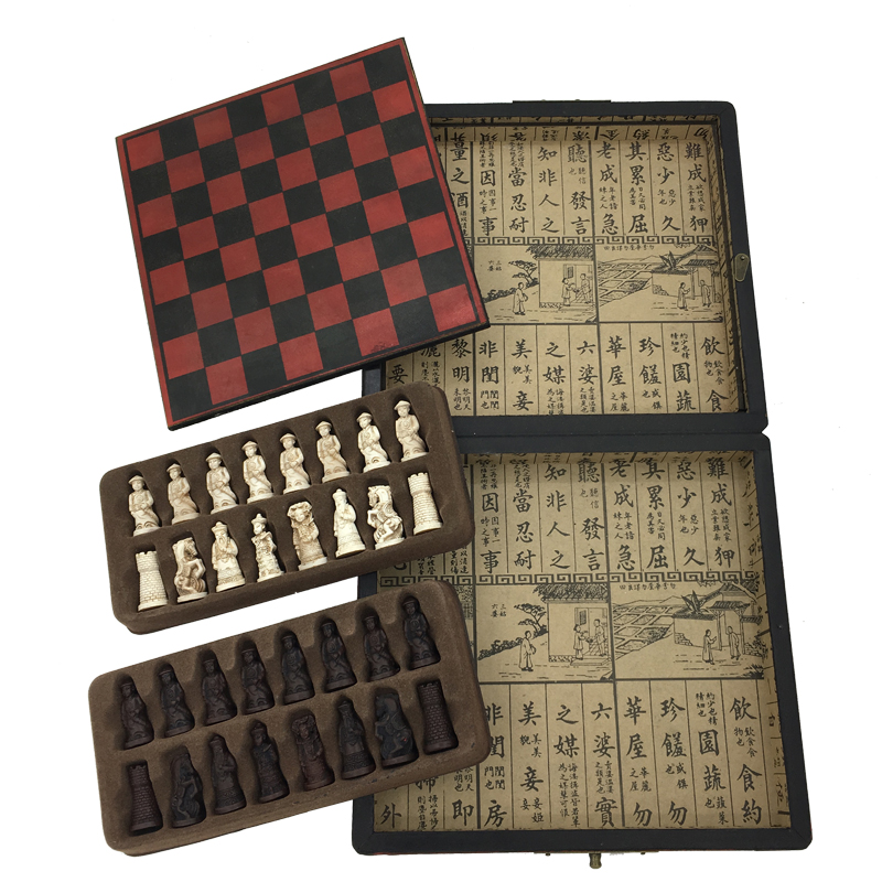 New Arrived Antique Chess Table Games Board Game Wooden Box Vintage Chess Set Retro Gift Chess Outdoor vintage board game saboteur