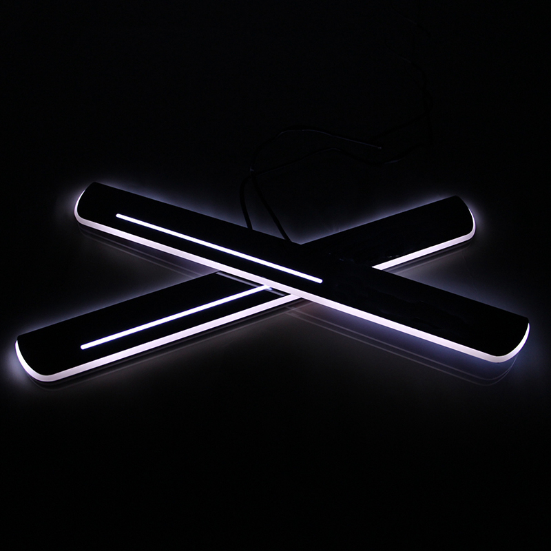4PCS For Peugeot 2008 LED Car Scuff Plate Trim Pedal LED Door Sill Moving Light