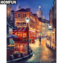HOMFUN Full Square/Round Drill 5D DIY Diamond Painting Town scenery Embroidery Cross Stitch 5D Home Decor Gift A06744 homfun full square round drill 5d diy diamond painting moon scenery embroidery cross stitch 5d home decor gift