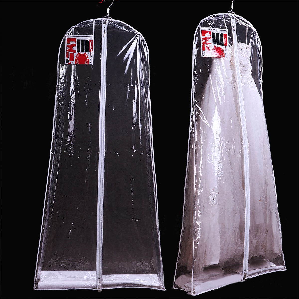 Wedding Gown Preservation Bag: Extra Large All Transparent PVC Dust Cover Bag For