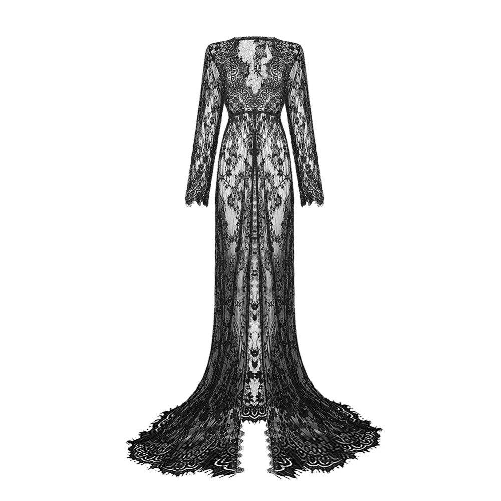 Длинные женские для беременных кружевное вечернее фотографии платье вечерние бальное платье Пром See-Through платье Размер 6-14