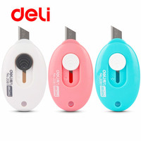 Deli 1pcs Cute Solid Color Mini Portable Utility Knife Paper Cutter Cutting Paper Razor Blade Office Stationery School Supplies