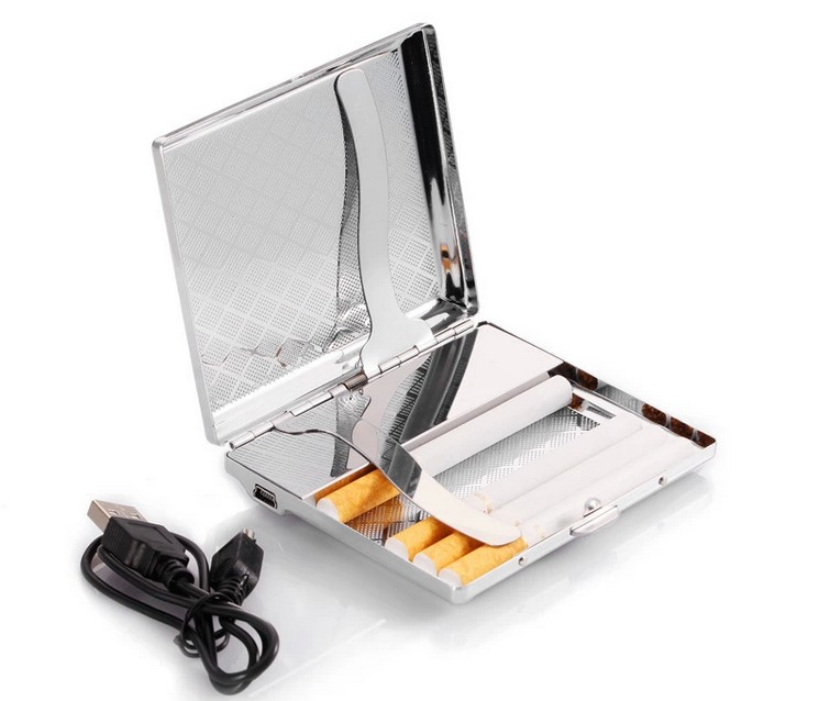 Metal Smoking Box With USB Charging Lighter font b Cigarette b font Case Cool font b