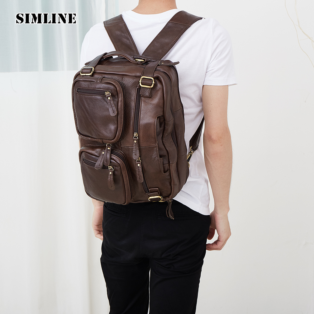Vintage Casual Genuine Leather Real Cowhide Men Mens Male Outdoor Travel Backpack Shoulder Bag Bags Backpacks Handbag For Man men s genuine leather double shoulder backpacks real cowhide leather backpack for men brand bags man multi fuctional bag