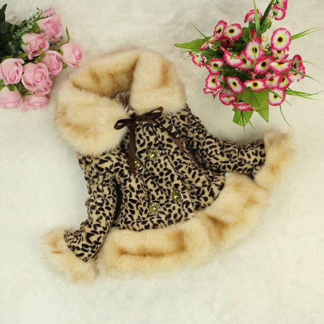 New winter warm Girl overcoat children Leopard jacket girl clothes 4colors roupas infantis menina b0748