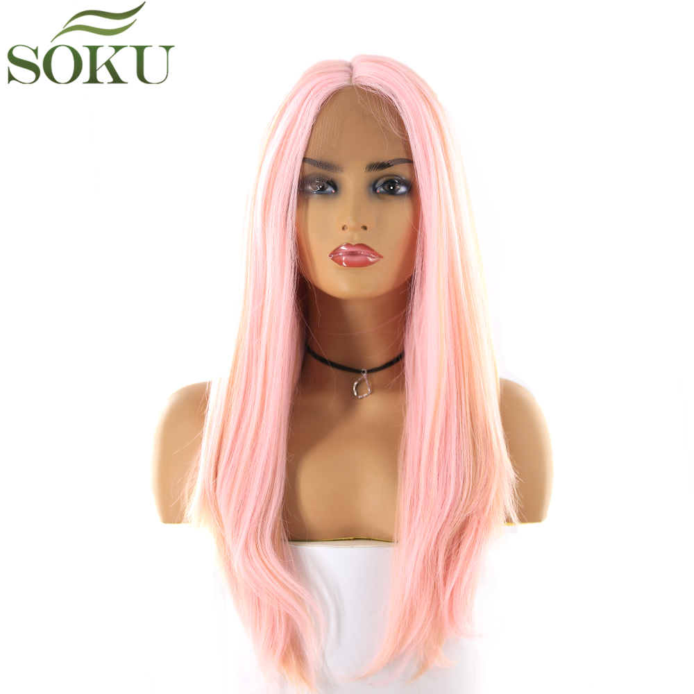 SOKU Synthetic Lace Front Wigs 16 Inch Straight Middle Part Pink Color Wig Heat Resistant Fiber Wig For Women Free Shipping