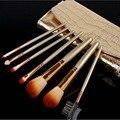 7 Pçs/set kit Escova de Maquiagem pincéis de maquiagem Profissional Cosméticos make up Brushes com Capa de Couro Ouro organizador 2 set/lote