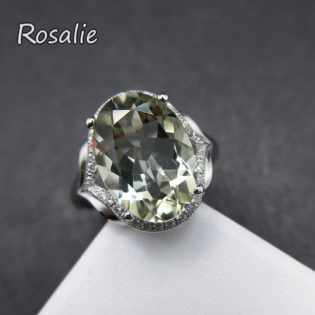 Rosalie,2018 new design rings with Natural Green amethyst quartz oval 10*14mm ge