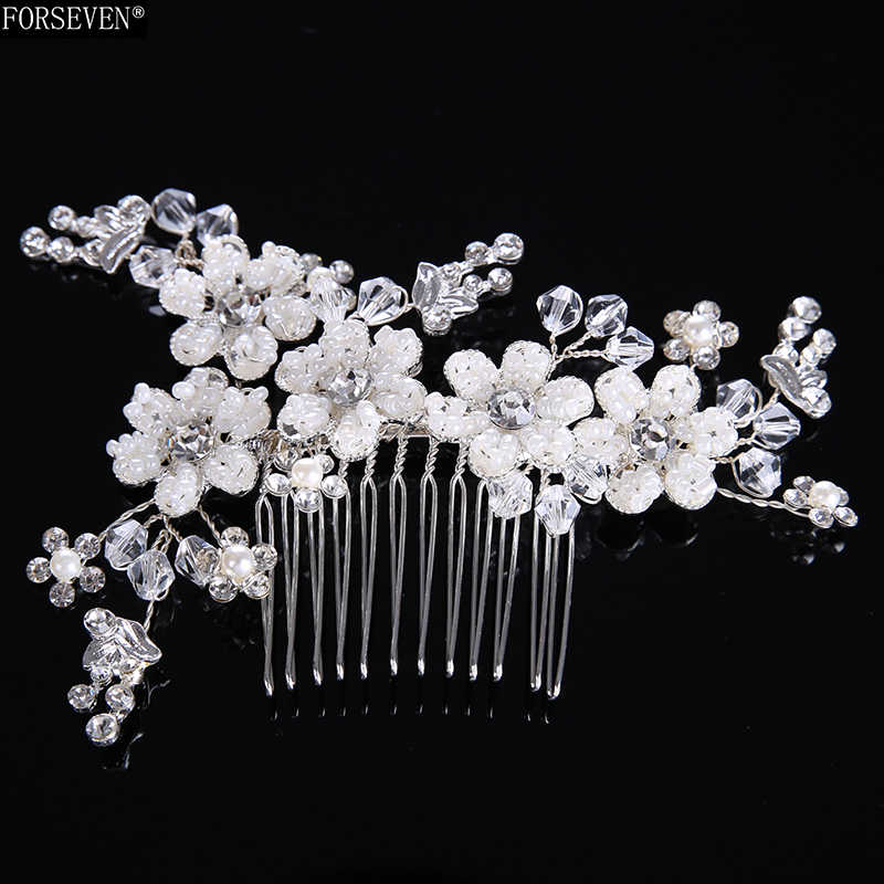Fashion Hair Combs Pearl Jewelry Women Rhinestones  Hairpins For Bridal Silver Hair Ornament Handmade Wedding Accessories Gift