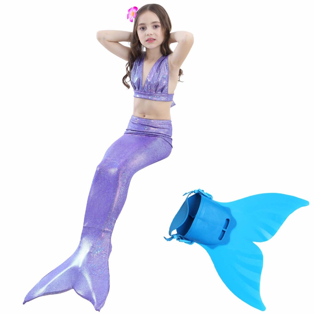 Kid Girls Fin Mermaid Tail Swimmable Tail Costume gift,4pcs Bikinis bathing suit Children Mermaid Tail with Monofin For Swimming comfortable christmas style knitting mermaid tail blanket