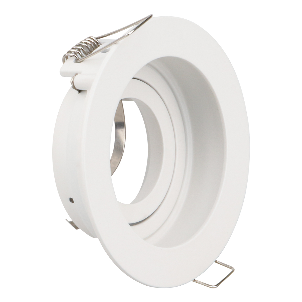 White Black Round Spot lights Lamp Frame Downlight mounting frame Adjustable MR16 GU10 light Fitting for dia 50mm led spotlight in Lamp Bases from Lights Lighting