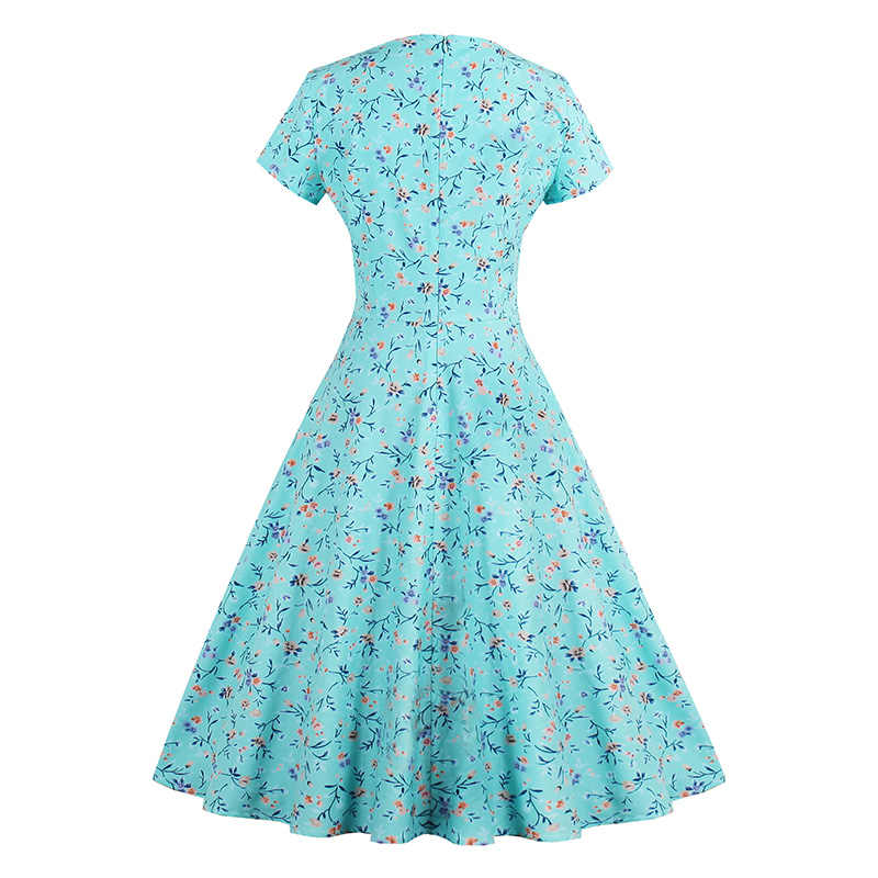 9c48c40514c ... Sisjuly Vintage 1950s Mid Calf Turquoise Women Print Dress Short Sleeve  European Summer Party Dress Rockabilly