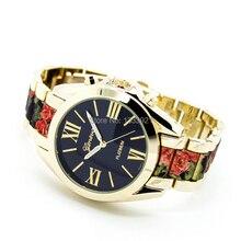Venta caliente romano del reloj de ginebra reloj de pulsera de dos tonos reloj de las mujeres reloj de pulsera de flores