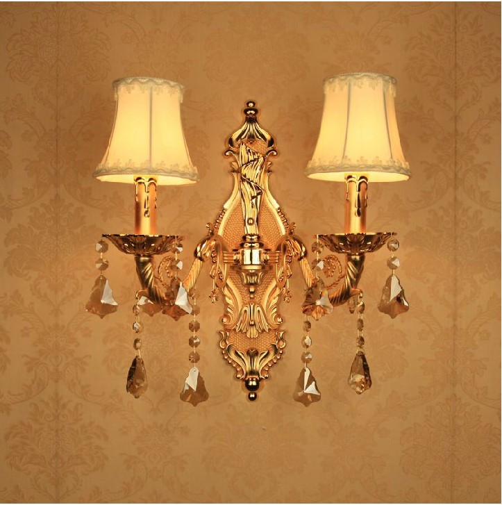 Golden Style Double Heads European crystal wall lamp/ bedroom bedside wall lamp/ crystal candle wall lamp/Free Shipping free shipping european style modern luxury brief crystal candle pendant lamp with 3 heads 5 heads