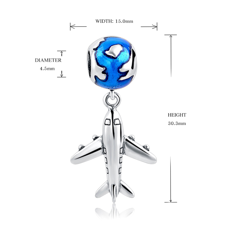 StrollGirl silver charms 925 the earth and plane diy beads fit original Pandora charm bracelet Pandora fashion jewelry making in Beads from Jewelry Accessories